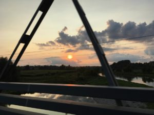 Southwestern Ontario,  sunset as crossing the Thames river