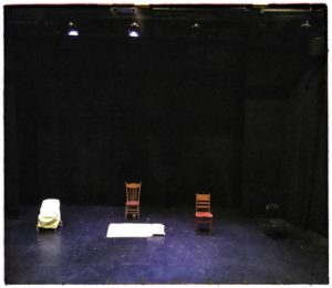 The Grand Theatre's McManus stage as set for the beginning of 13 inches of closet space, a play by Mary McDonald, performed as part of the London One Act Festival (LOAF), London, Ontario, 2017