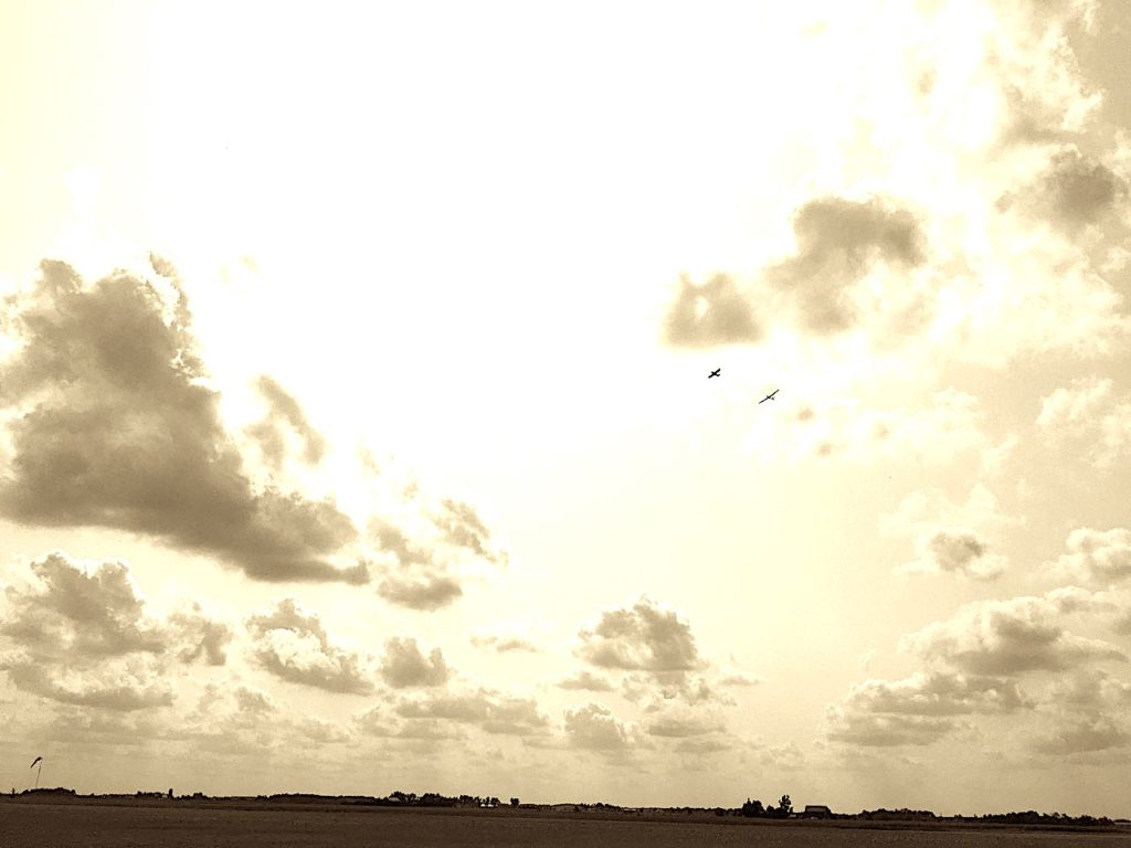 an edited, sepia photo from the ground looking up into the lit sky of cloud and sun, where two glider planes are soaring