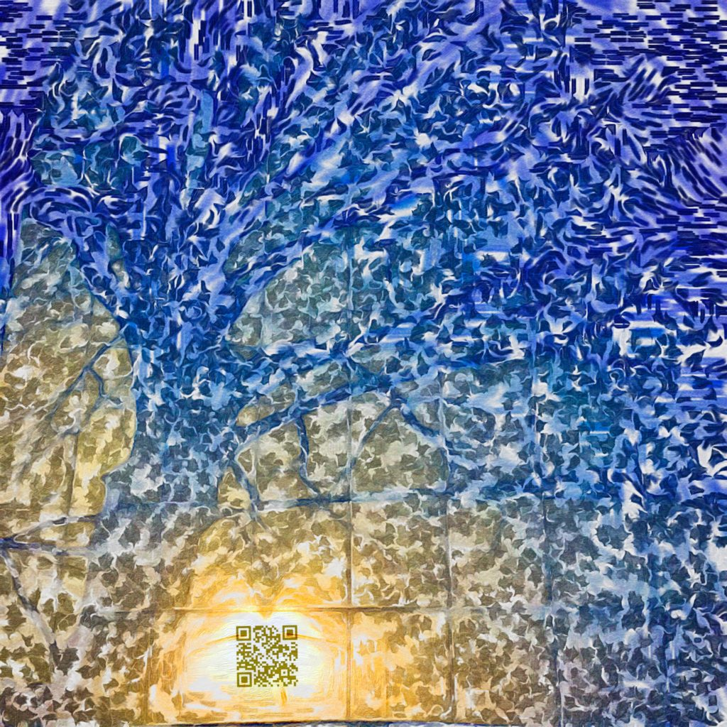 Silicon Valley AR art with QR image of tree shadow cast against wall edited into impressionist style painting