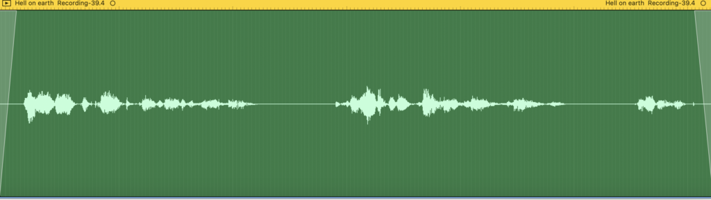 waveform for voice recording of text from WWI letter fragment