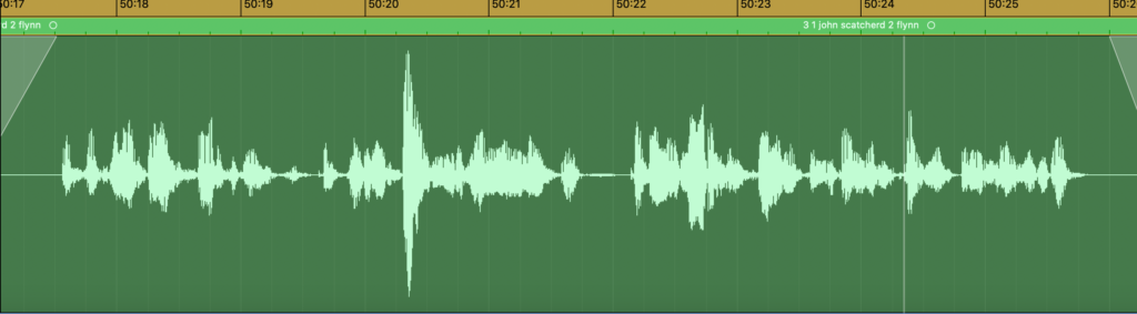 image of waveform of voice recording reading a fragment of a letter from WWI.